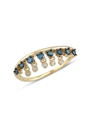 Piano Jewellery Cabaret Salsa Wave Mavi Pırlanta Yüzük 14 Ayar Altın